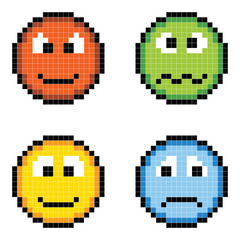 Photo sur Plexiglas Pixel Pixel Emotion Icons - Angry, Sick, Happy, Sad
