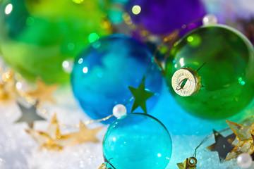 Wall Mural - Christmas colored balls