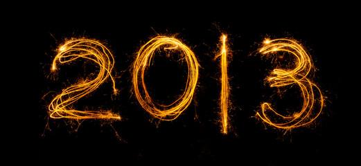 2013 written in sparklers