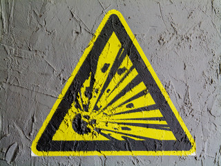 Explosive sign drawn on wall