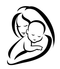 Wall Mural - mother and baby vector symbol