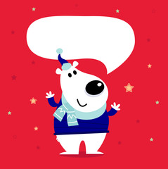 Cute cartoon polar bear with speaking bubble