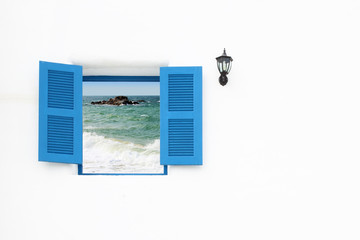 Greek style window with sea view