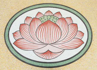 lotus, Art Chinese style painting on the temple wall