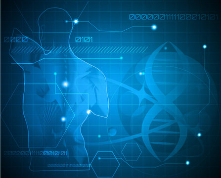 Abstract medicine background. Human back, spine and gene chain