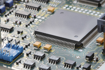 close up of electronic circuit board with processor