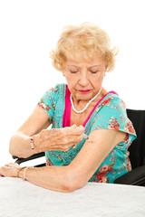 Senior Woman Gives Self Injection