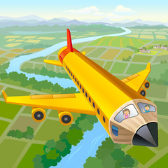 Printed roller blinds Airplanes, balloon School Children On Pencil Aeroplane Ride