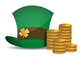 coins and saint patricks hat
