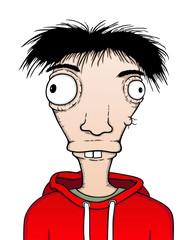 Individual boy, cartoon illustration