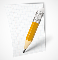 Realistic yellow pencil with paper