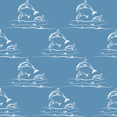 Dolphins - seamless pattern - vector illustration