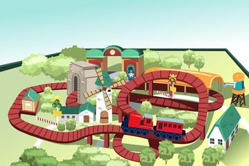 Miniature toy train track