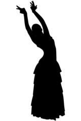 sketch of a girl in dance pose Flamenco