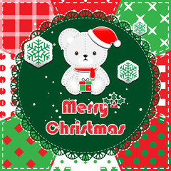 Patchwork christmas background with teddy bear