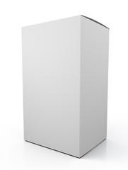 3d blank cardboard box mock up on white