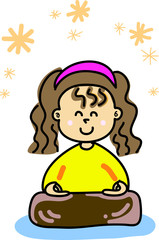 happy girl practice meditation cartoon hand-drawn