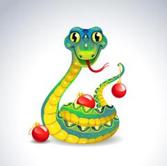 Snake with Christmas balls.