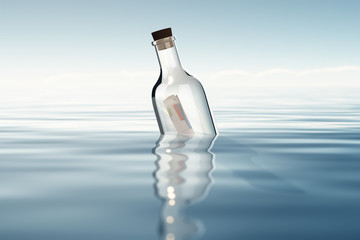 Bottle with financial statements