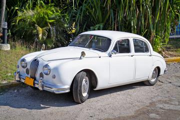 Tuinposter Oude auto s Classic white Jaguar ,Havana. Cuba