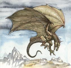 Wall Murals Dragons Летящий дракон