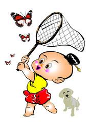 children swing butterfly