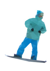 isolated snowboarder, vector snowboard illustration