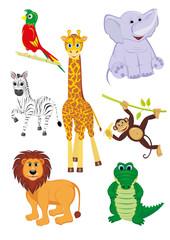 Cartoon illustration of seven cute safari animals