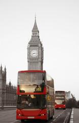Foto op Canvas Rood, zwart, wit Double Decker Bus, Big Ben in far behind