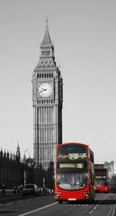 Papiers peints Rouge, noir, blanc Double Decker Bus, Big Ben in far behind