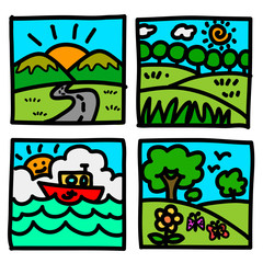 Nature view hand draw cartoon.Illustration