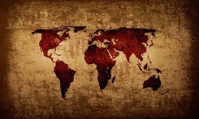 Brown grunge world map background
