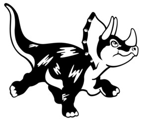 cartoon triceratops black white