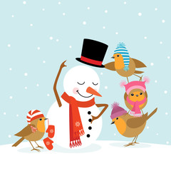Spoed Fotobehang Vogels, bijen Robins and Snowman
