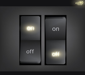 On and off light switch illustration