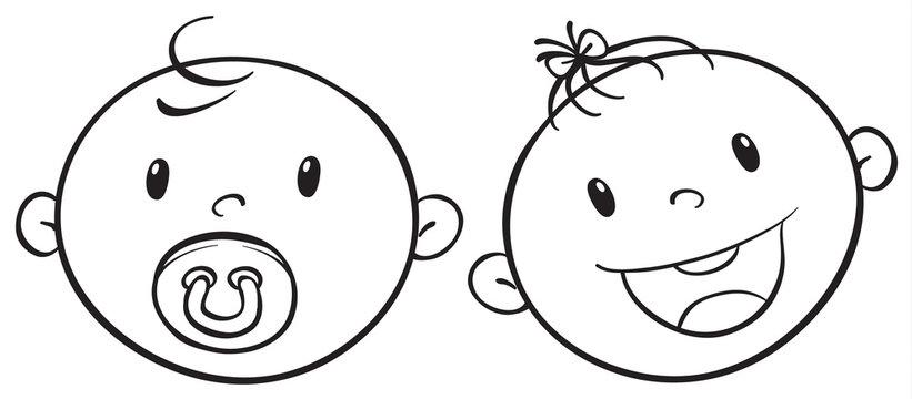 a baby faces sketch