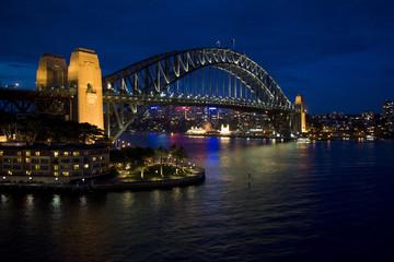 Sydney Harbour bridge after sunset, New South Wales, Australia