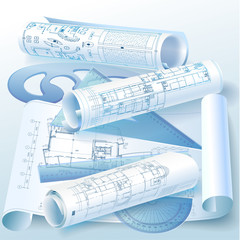 Architectural background with drawing tools and rolls of drawing