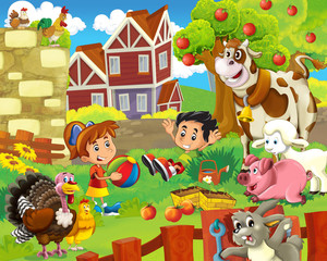 Foto auf Gartenposter Bauernhof The farm illustration for kids - happy and educational