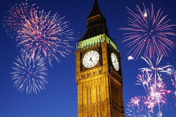 Wall Mural - Fireworks over Big Ben