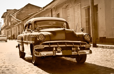Printed kitchen splashbacks Cars from Cuba Classic Chevrolet in Trinidad, Cuba