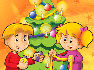 Kids having fun decorating - illustration for the children