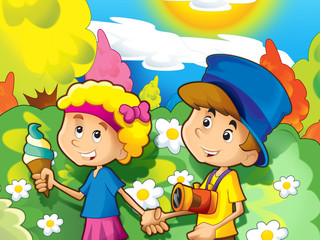 Happy cartoon pair togehter - illustration for the children