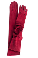 long red textile gloves