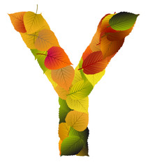 Buchstabe aus Blättern - Y