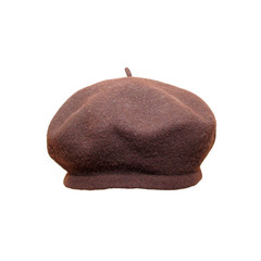Brown beret close up, isolated on white.