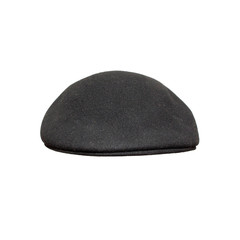 Black beret close up, isolated on white.