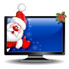 Santa Cartoon on Monitor Computer-TV-Babbo Natale in Schermo
