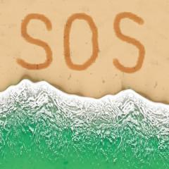 S.O.S. sign on the beach
