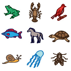 animals hand drawn icons in vector